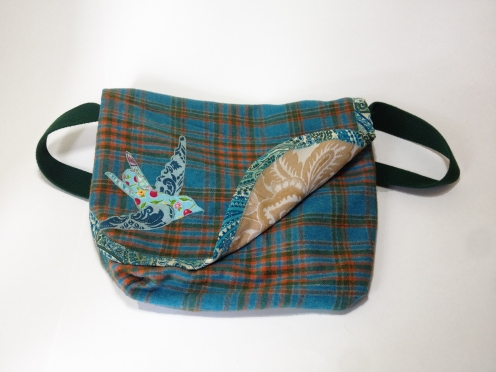 Reversible Messenger Bag - Blue Plaid